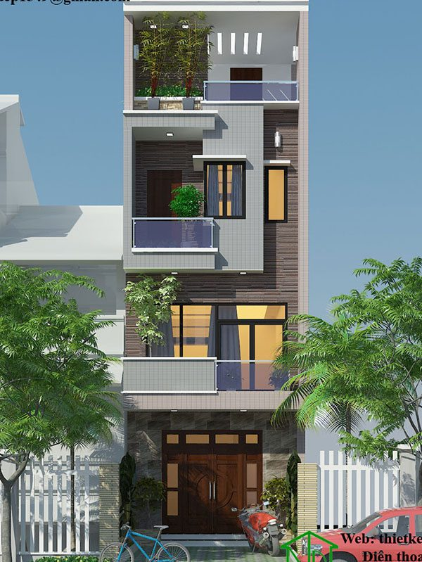 Mẫu thiết kế nhà phố 4 tầng