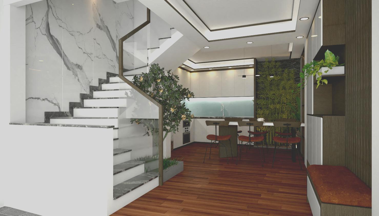 phối-cảnh-mặt-tiền-1 Mẫu thiết kế nhà phố cổ điển trệt lửng 2 lầu + sân thượng