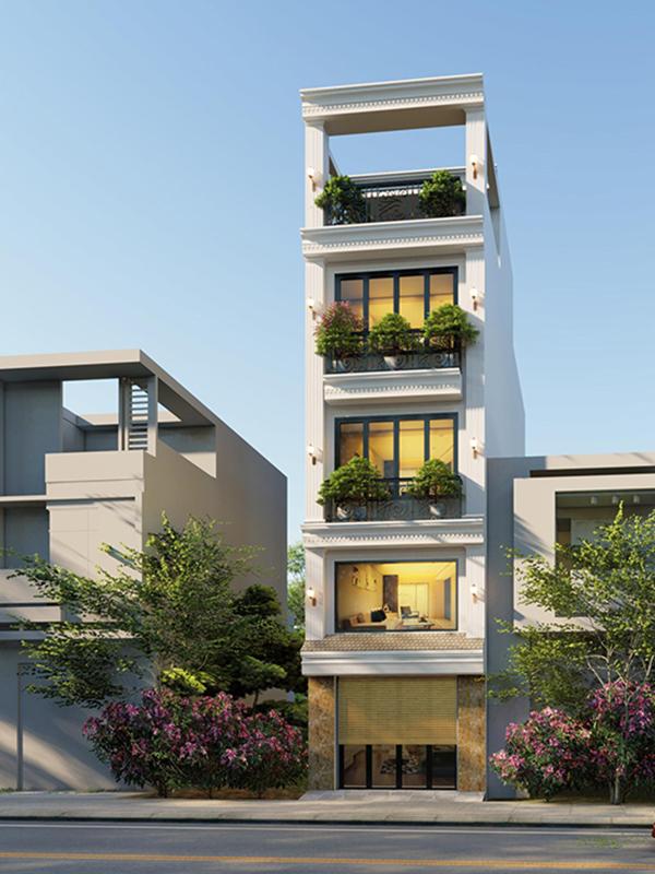 Mẫu thiết kế nhà phố cổ điển trệt lửng 2 lầu + sân thượng