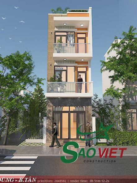 Mẫu thiết kế nhà phố 4×20 3 tầng nhà anh Dũng Quận Bình Tân