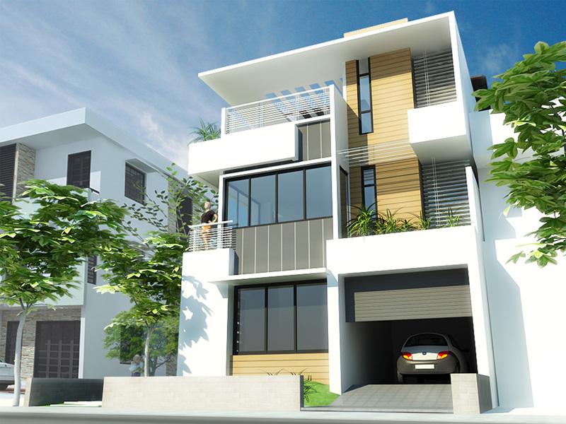 nha-pho-2-mat-tien-hien-dai-01 Chi phí xây nhà phố 3 tầng