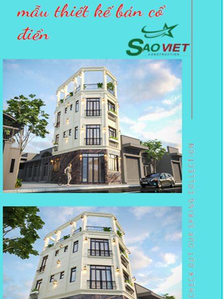 Mẫu thiết kế nhà phố 2 mặt tiền bán cổ điển