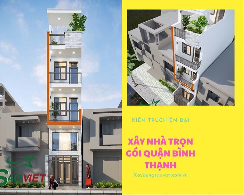thiet-ke-mat-tien-binh-thanh-631x1024 Mẫu thiết kế trệt lửng 2 Tầng và sân thượng Quận Bình Thạnh